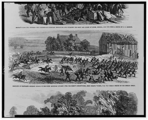 Campaign in Maryland - Gallant charge of the Sixth Michigan Cavalry over the enemy's breastworks, near Falling Waters, July 14