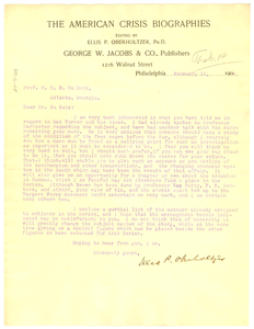 Letter from Ellis P. Oberholtzer to W. E. B. Du Bois