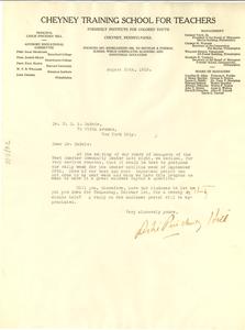 Letter from Cheyney Training School for Teachers to W. E. B. Du Bois