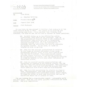 Letter, Bureau of Equal Educational Opportunity to Citywide Educational Coalition, August 23, 1976