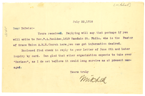Letter from George Mitchell to W. E. B. Du Bois