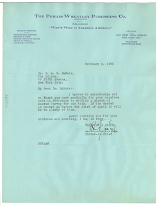 Letter from The Phillis Wheatley Publishing Co. to W. E. B. Du Bois