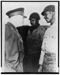 U.S. General Eisenhower visits supply port of Cherbourg