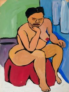 Seated Female Nude on Red Drape