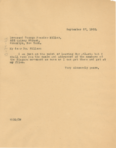 Letter from W. E. B. Du Bois to George Frazier Miller