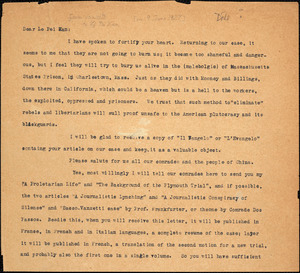 Bartolomeo Vanzetti typed letter (copy) to Pei Kan Li, [Dedham, 9 June 1927]