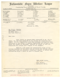 Letter from J. A. Thomas to W. E. B. Du Bois