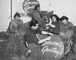 Volunteers with the Jackson Street Community Council (JSCC) preparing Christmas Decorations, ca. 1948-1950