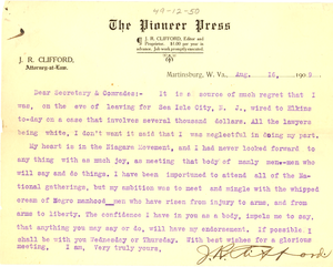 Letter from J. R. Clifford to W. E. B. Du Bois