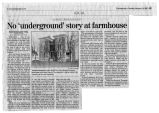 Newspaper article of Towanda Meadows - No Underground Story at Farm House