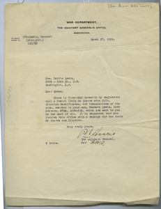 Letter from United States War Department to Hettie Lewis