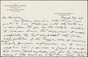 Baldwin, James Mark, 1861-1934 autograph letter signed to Hugo Münsterberg, Baltimore, 29 March 1906