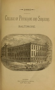 College of Physicians and Surgeons Catalog 1880-1900
