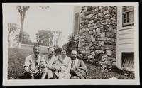 Photograph of unidentified man, Water White, Grace Nail and James Weldon Johnson at Five Acres