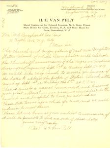 Letter from H. C. Van Pelt to W. E. B. Du Bois