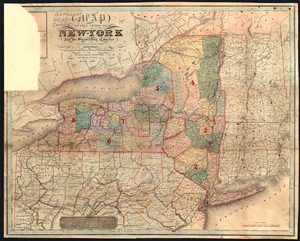 Map of the state of New-York and the surrounding country: County towns, canals, rail roads, senatorial & congressional divisions also the distances along the canals, rail roads, and principal mail routes