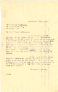 Letter from Jessie Redmon Fauset to Helen C. Robinson
