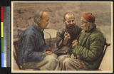 Friends smoking with pipes, China, ca.1920-1940