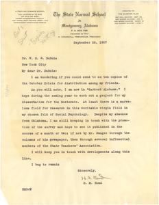 Letter from H. M. Bond to W. E. B. Du Bois