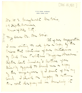 Letter from Hortense N. Hintburn to W. E. B. Du Bois