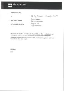 Memorandum from Mark H. McCormack to James Erskine, Breck McCormack, Shigeki Uji, Tak Masaoka