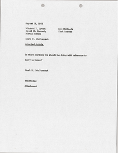 Memorandum from Mark H. McCormack to Michael T. Lynch, David M. Kennedy, Martin S. Sorrell, Jay Michaels and Dick Roemer