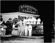 Standard Oil service station, Peachtree and Spring Streets (American Legion vehicle)
