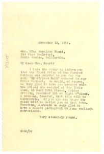 Letter from W. E. B. Du Bois to Edna Rosalyne Heard