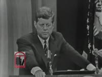 WSB-TV newsfilm clip of United States president John F. Kennedy speaking about the Albany Movement, 1962 August 1