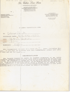 Letter from Wilbur Colom to Gloria Xifaras Clark