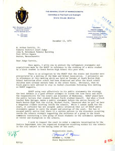 Letter from State Representative Raymond L. Flynn to Judge W. Arthur Garrity