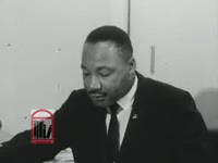 WSB-TV newsfilm clip of Dr. Martin Luther King, Jr. speaking about race riots in Rochester and New York City, New York, 1964 July 27