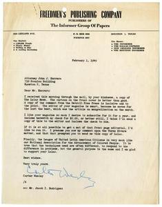 [Letter from Carter Wesley to John J. Herrera - 1949-02-01] [Letter from Carter Wesley to John J. Herrera - February 1, 1949]