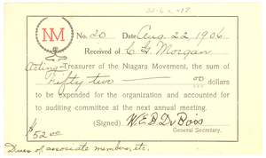 Niagara Movement Receipt No. 20