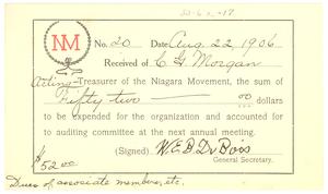 Niagara Movement Receipt No. 20