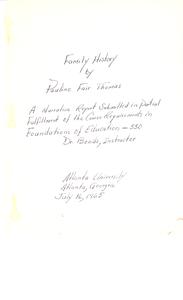 Student family histories: Thomas, Pauline Fair (Thomas, Devlin, Tate)