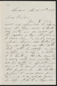F. B. Sanborn autograph letter signed to [Thomas Wentworth Higginson], Concord, 4 March 1859