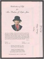 Celebration of life for Mrs. Pauline J. Lyles Jeter, sunrise, June 30, 1923, sunset, November 11, 2015, Saturday, November 14, 2015, one o'clock in the afternoon, Monks Grove Baptist Church, 718 Monks Grove Church Road, Spartanburg, South Carolina 29303, the Reverend Dr. John H. Corbitt, pastor