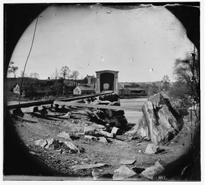 [Richmond, Va. The Belle Isle railroad bridge (covered) from the south bank]