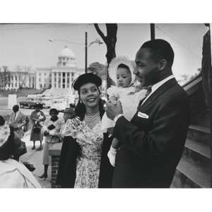 Martin Luther King, Jr., wife Coretta Scott King, and their daughter Yolanda