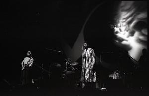 Taj Mahal in concert at Northfield, Mass.: guitarist and Taj Mahal (vocals)