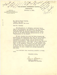Letter from National Emergency Council to George Foster Peabody