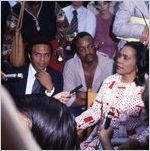 """UN Ambassador Andrew Young, actor Paul Winfield, and Coretta Scott King on the set of the mini-series """"King,"""" 1977"""