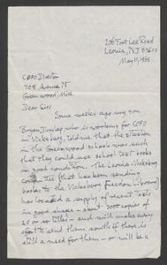 Letter from Leonia-Vicksburg Committtee
