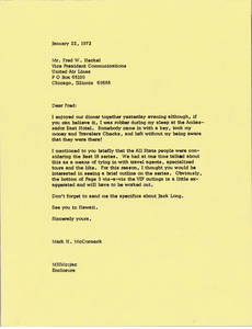 Letter from Mark H. McCormack to Fred W. Heckel