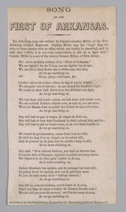 Printed lyrics for the Song of the First of Arkansas