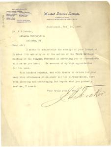 Letter from J. B. Foraker to W. E. B. Du Bois