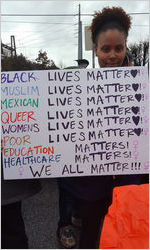 Black lives, Muslim lives, etc. matter sign, Atlanta March for Social Justice and Women, 2017-01-21