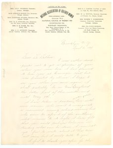 Letter from Addie W. Hunton to W. E. B. Du Bois