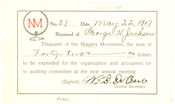 Niagara Movement Receipt No. 27